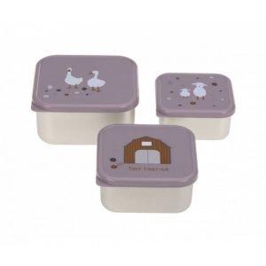 LASSIG 3 cajas almuerzo Acero Tiny Farmer Malva