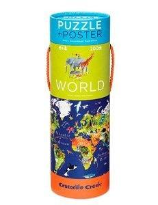 CROCODILE CREEK 200PC poster+puzzle world