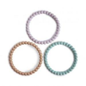 MUSHIE 3 brazaletes mordedor Pearl Lilac/Cyan/Soft Peach