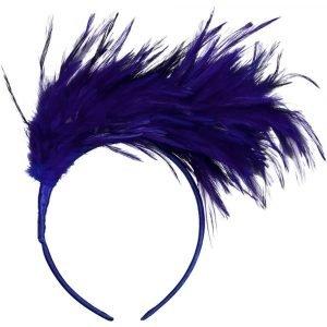 SUIT BEIBI diadema pluma grande azul