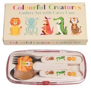 REX set cubiertos para niños colorful creatures