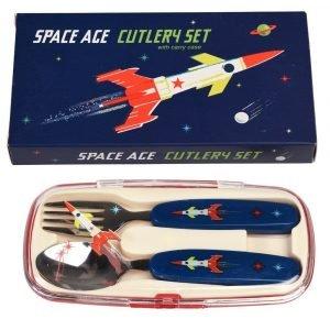 REX set cubiertos para niños space age