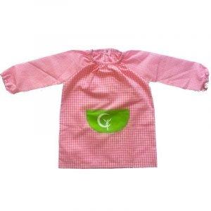 SUIT BEIBI bata escolar goma con bolsillo central Vichy Rosa Campanilla Verde