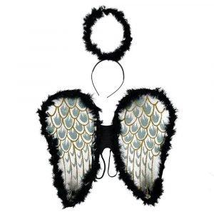 SUIT BEIBI set alas diadema angel negro