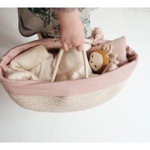 FABELAB cesta cuna muñecas mauve