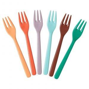 RICE cubiertos melamina set 6 tenedores para niños Disco ball colours