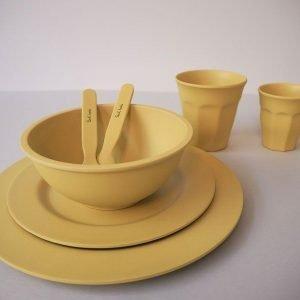 SUIT BEIBI plato bamboo dinner yellow