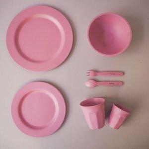 SUIT BEIBI plato dinner bamboo dark pink