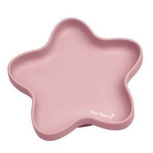 SARO plato silicona con ventosa star rosa
