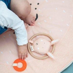 TRIXIE sonajero para niños circulo madera conejo